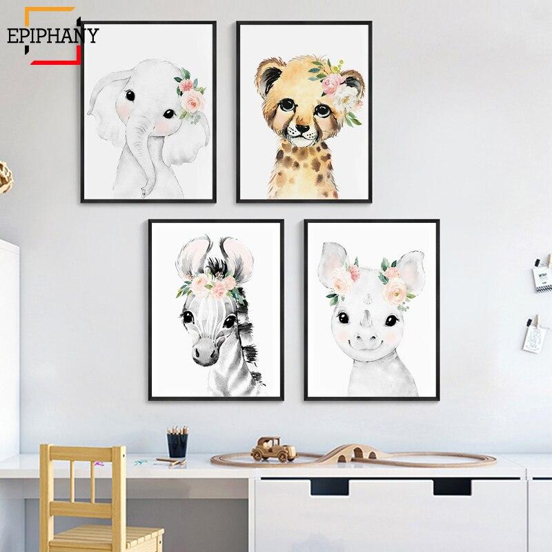 Watercolor Animal Painting with Blush Pink Flowers Boho Chic Nursery Wall Art Elephant Giraffe Zebra Cheetah Rhino Hippo Picture|Painting & Calligraphy|   - AliExpress