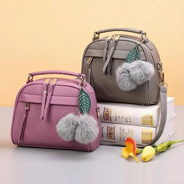 2019 New Girl Messenger Bags Fashion PU Leather Handbag for Women with Ball Toy Female Shoulder Bags Ladies Party Handbags Bolsa