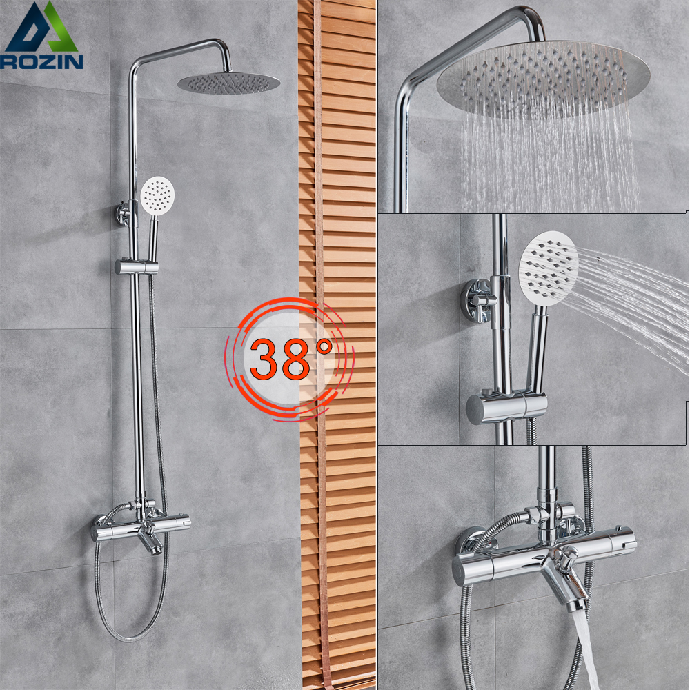 Temperature Control Shower Faucet Set Wall Mount 8 Rainfall Thermostatic Shower Set Mixer Tap Chrome Bath