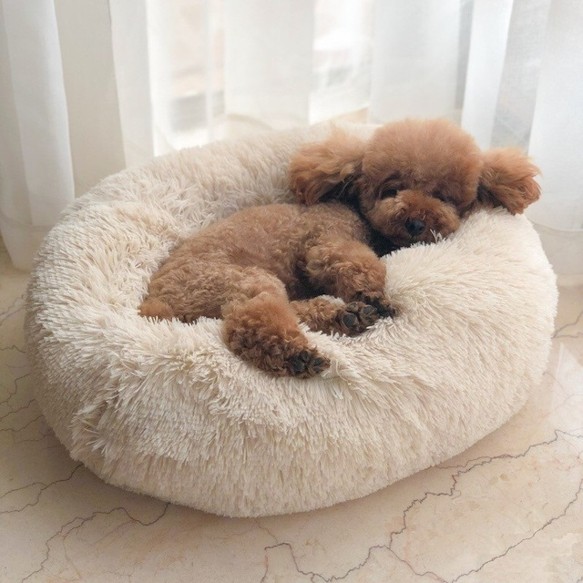 Long Plush Super Soft Pet Bed Kennel Dog Round Cat Winter Warm Sleeping Bag Puppy Cushion Mat Portable Cat Supplies 46/50/60cm 1