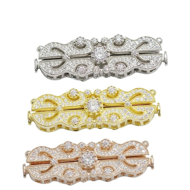 Beadsnice 925 collier en argent Sterling fermoir faisant CZ pavé bijoux Multi brin collier fermoir