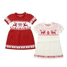 db309b645f624 Noel Toddler Çocuk Bebek Kız Örgü Yün Kazak Tığ Elbise Elbise(China)