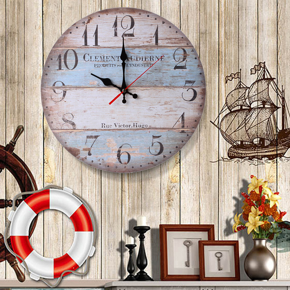 1PC Vintage  Wooden Wall Clock Modern Design Antique Style For Home Living Room Office Kitchen Wall 11.5cm/30cm