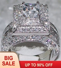 Victoria Wieck 2-in-1 Engagement Jewelry Handmade Topaz simulated diamond 14KT White Gold Filled Wedding Band Ring Set Sz 5-11 new arrivals vintage round 5 5mm semi mount ring in 14kt white gold diamond engagement setting ring for sale ywr00103