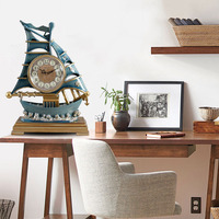 Creative Handmade Wrought Iron Clock Decoration Table Clock Retro Study Bedroom Clock Living Room Smooth Sailing Crafts Ornament
