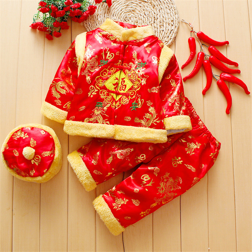 Chinese Tang Suit Baby Traditional Clothing for Kids New Year Classical Boy Oufit Girl Warm Print Costume Children Hanfu Uniform
