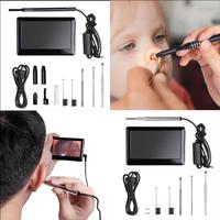 4.3 Inch LCD Screen Photo/Video Endoscope Borescope Inspection Camera DVR LED Otorhinolaryngoscope Detector with Earpick