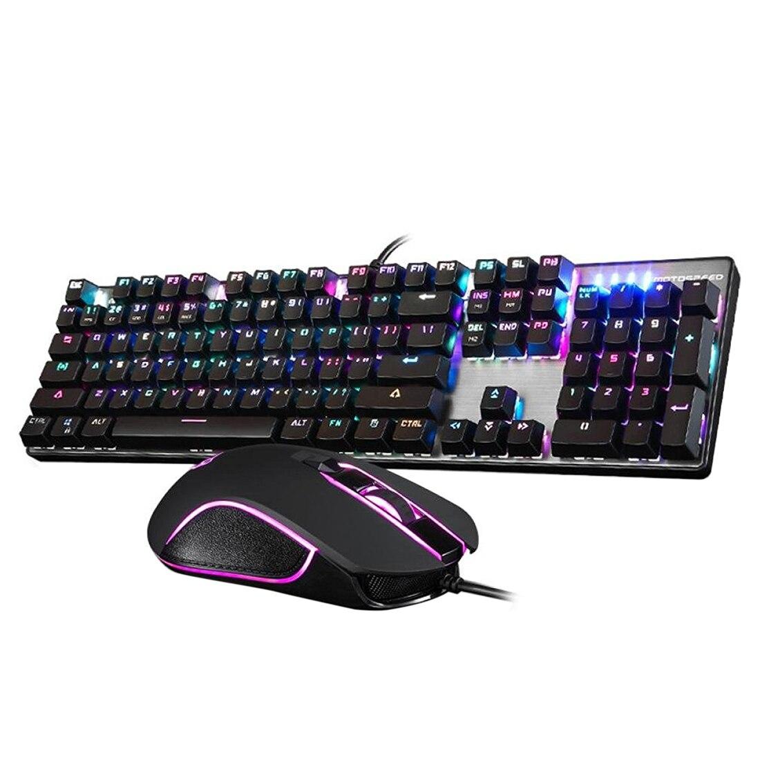 Motospeed CK888 ensemble clavier et souris de jeu avec rétro-éclairage arc-en-ciel pour bureau