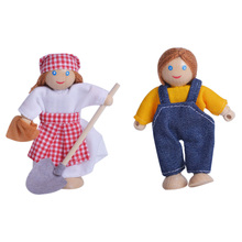 2 pcs Family Wooden Dolls Mini Pretend Play Toy Figure Gift