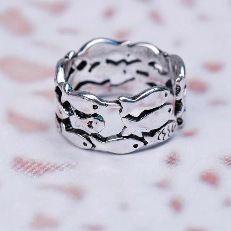 Горячая Мода маленькая рыбка кольцо Открытие Регулируемая личность мужчин и женщин универсальное креативное серебряное кольцо тренд вечерние ювелирные изделия подарок