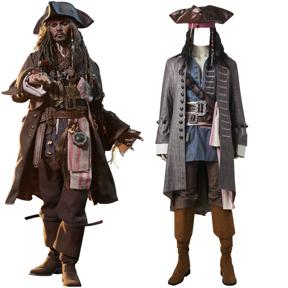 Pirates of the Caribbean Salazar Revenge Captain Jack Sparrow Cosplay Costume
