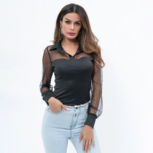 Casual Lace Hollow Out Mesh Sexy Perspectief Long Sleeve T-shirt Solid Dot Tops Women недорого