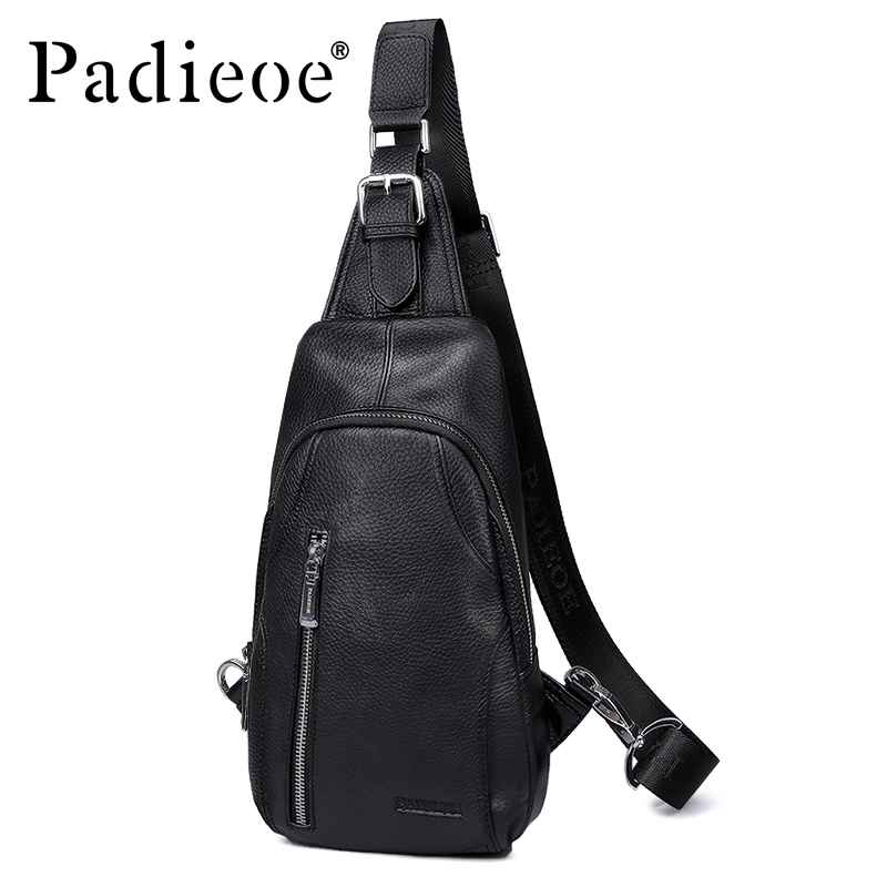 Padieoe men sling bag chest bag shoulder crossbody  bags satchel genuine leather bag fashionPadieoe men sling bag chest bag shoulder crossbody  bags satchel genuine leather bag fashion