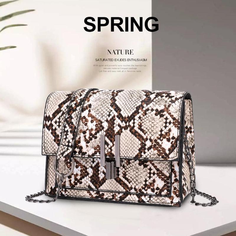 Handbags Chain Flap Crossbody-Bags Square Snake-Print Shoulder Small Women Girls Fashion