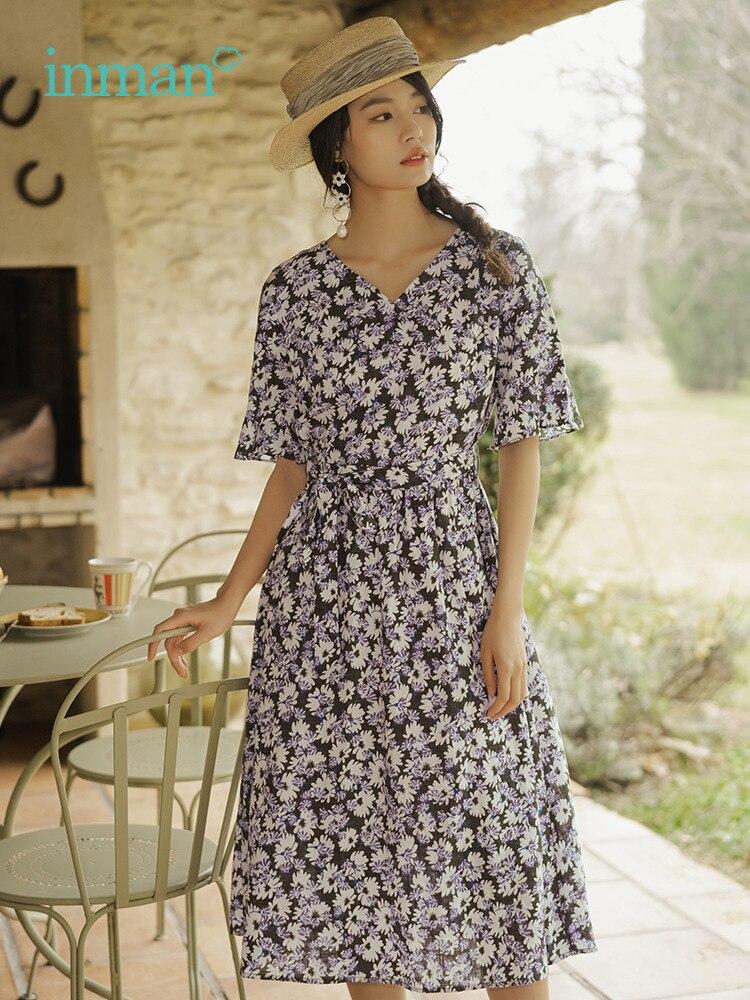 INMAN 2019 lato nowy przyjazd dekolt w serek zdefiniowane talia linia elegancka romantyczny literackie drukuj kobiety sukienka w Suknie od Odzież damska na  Grupa 1