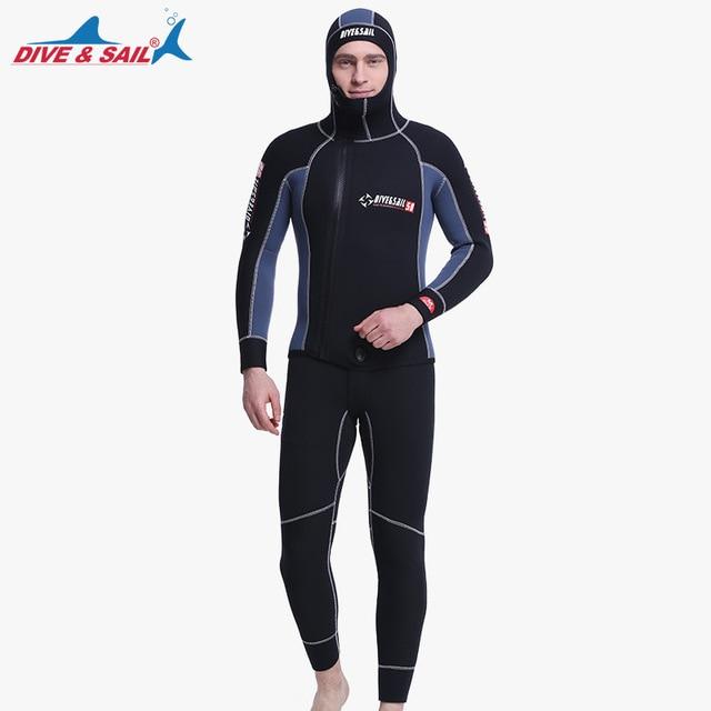 Double Warm Professional 5MM SCR Neoprene 2-pieces Men Hooded Wetsuit Scuba Diving Suit Zipper Split Spearfishing Wet Suit
