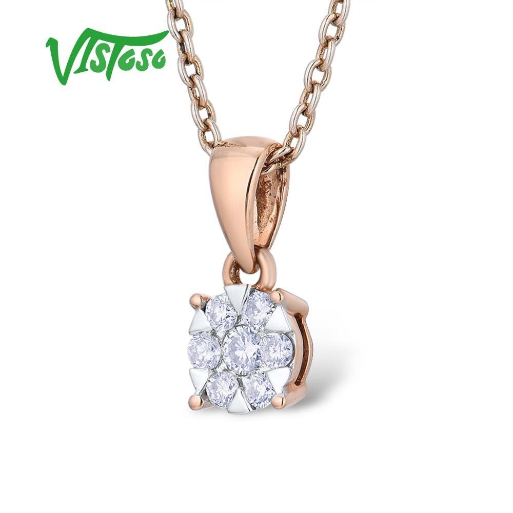 VISTOSO Gold Pendants For Women Authentic 14K 585 Rose Gold Sparkling Round Diamond Simple Elegant Wedding