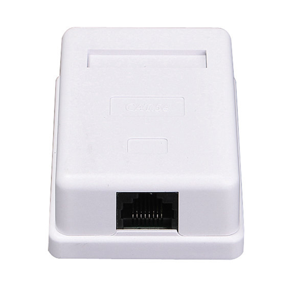 RJ45 White Single Port Junction Ethernet Extension Cable Information Module Network Connector Box Desktop Unshielded