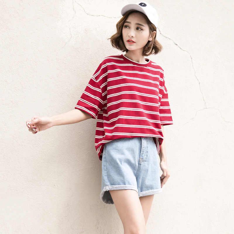 Koszulka w paski kobiet z krótkim rękawem lato 2019 nowy koreański Harajuku kobiet topy luźne uczeń czerwony biały bawełna najniższy Tees
