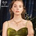 Viennois набор украшений для женщин, крупное колье и серьги покрытые золотом - фото