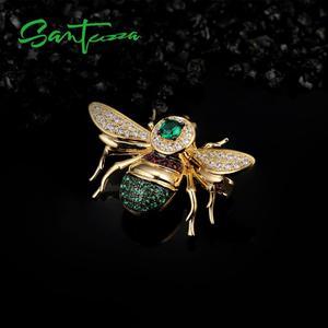 Image 4 - Santuzza broche de prata para mulher autêntico 100% 925 prata esterlina cor do ouro adorável abelha inseto broche moda jóias