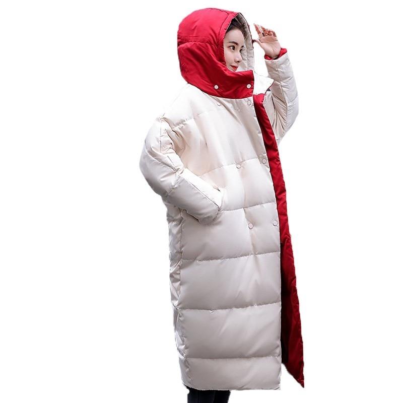 Casual Down Cotton Padded Coat Double Sides Ukraine Overcoat Snow Wear Plus Size Long Parka Winter