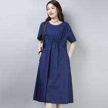 Women Summer Cotton Linen Dress Sundress 2019 New Casual O-neck Short Sleeve Loose Party Dresses Vestidos толстовка с полной запечаткой printio египет