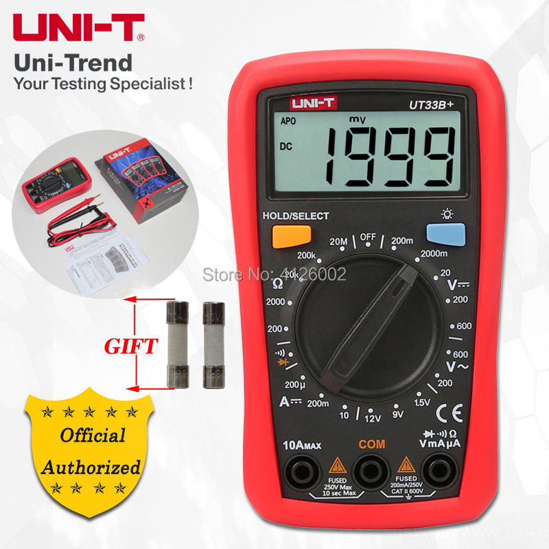 UNI T UT33A+/UT33B+/UT33C+/UT33D+ Palm Size Multimeter; Resistance/Capacitance/Temperature/NCV Test, Backlight-in Multimeters from Tools
