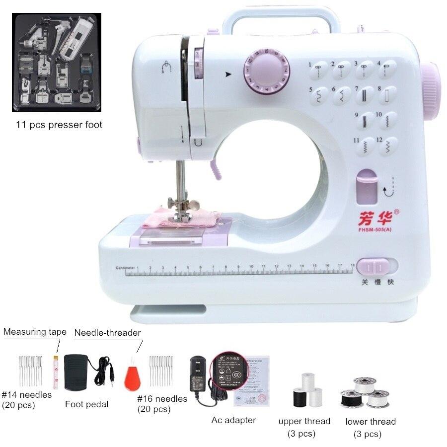 12 Stitchs Machine à coudre Portable à tricoter électrique presseur pied pédale bande de roulement rembobinage couture manuel russe