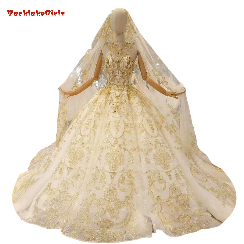 2018 Gold Lace Champagne Sleeveless O-neck Court Train Bridal Gowns Lace Up Ball Gown Vintage Wedding Dresses Vestido Casamento