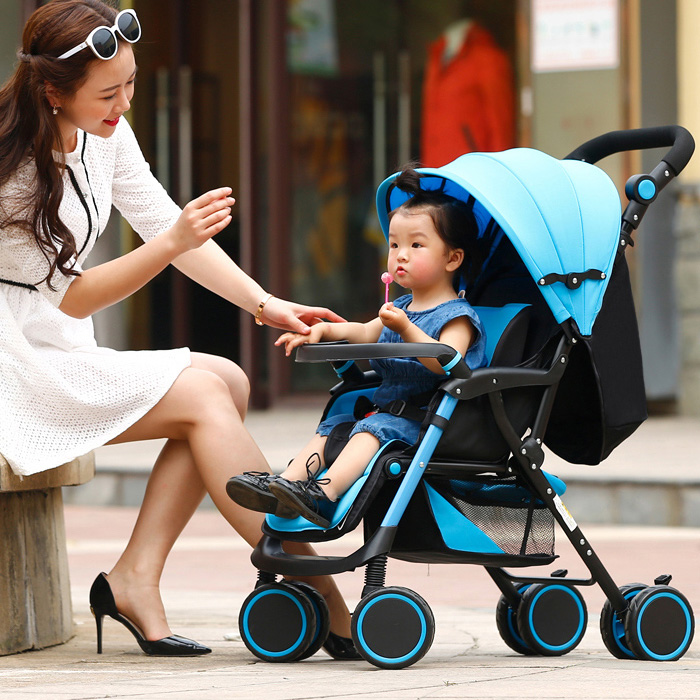 Comfortable And Cool Baby Cart Two-Way High View Four-Wheeled Stroller For Baby Large Space Breathable Fashionable Baby StrollerComfortable And Cool Baby Cart Two-Way High View Four-Wheeled Stroller For Baby Large Space Breathable Fashionable Baby Stroller