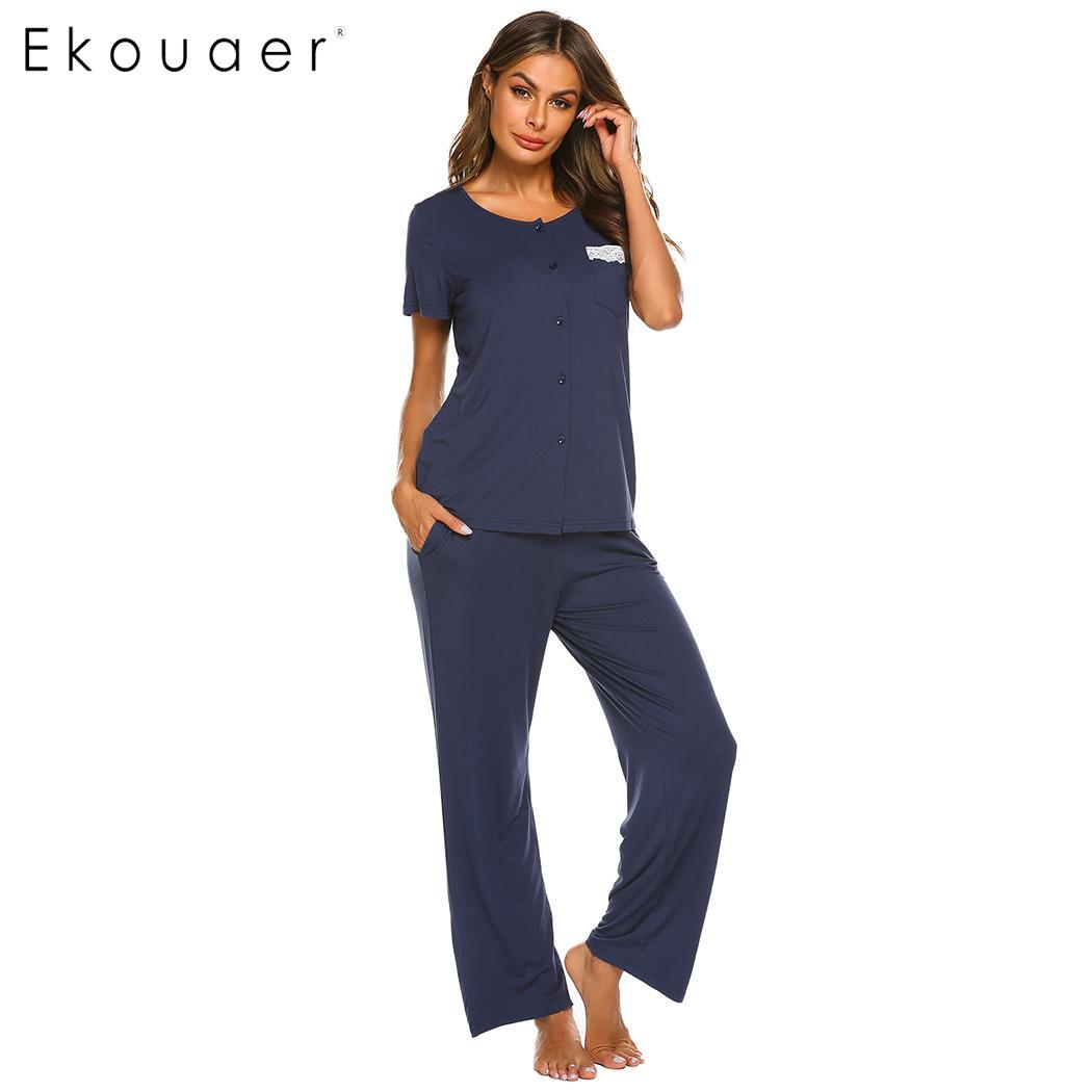 Ekouaer Women Soft   Pajama   Suit Homewear O-Neck Short Sleeve Single-breasted Loose   Pajamas     Set   Female Sleepwear Home Clothes