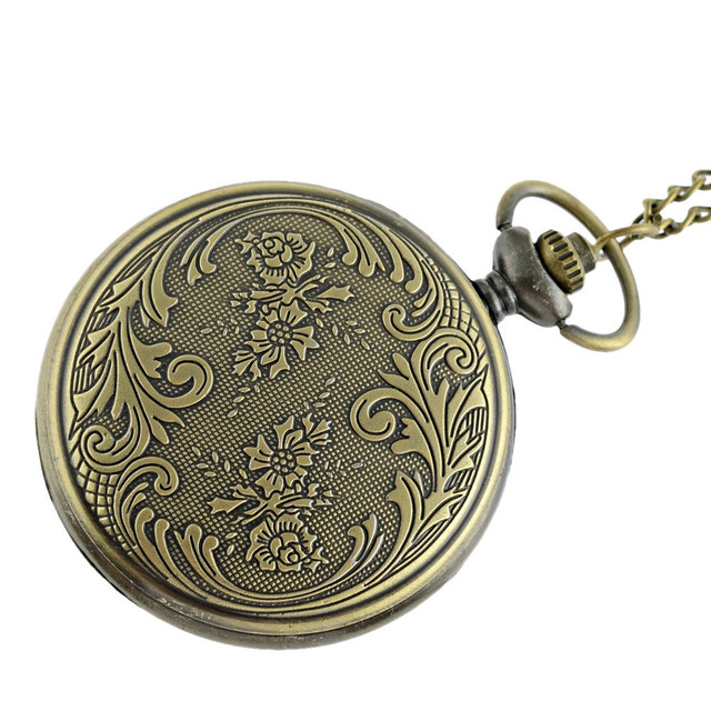 Vintage Bronze Fob Watch Steampunk Pocket Watch With Chain Necklace Pendant For Men And Women