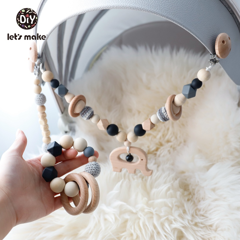 Baby Toys Play Gym Pacifier Rattle Wooden Teether Rattle Children's Toys Teething Animals Elephant Toys For Baby Stroller Set