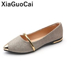 Newly Women Shoes Quality Soft Leather Slip-On Fashion Metal Decoration Simple Comfortable Flats Footwear New Arrival Hot Sale