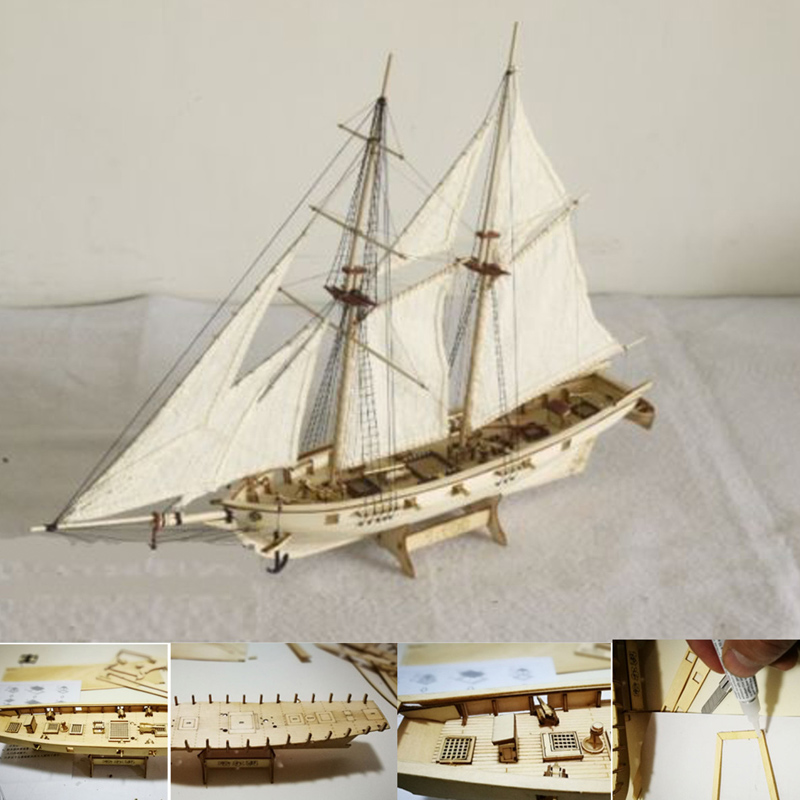 1:100 Scale Mini Wooden Sailboat <font><b>Ship</b></font> Kit Boat Toy Gift DIY Model Decoration WXV Sale image