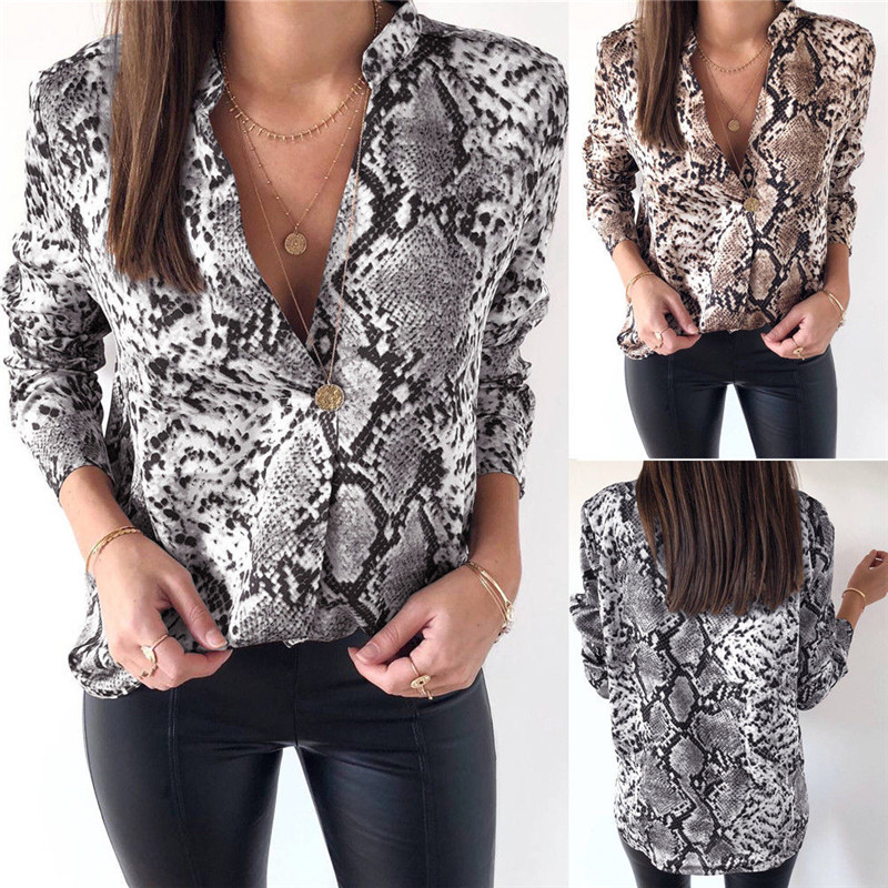 Long Sleeve Loose Blouse Tops Drop Shoulder Mens Womens Snake Skin Shirt Short