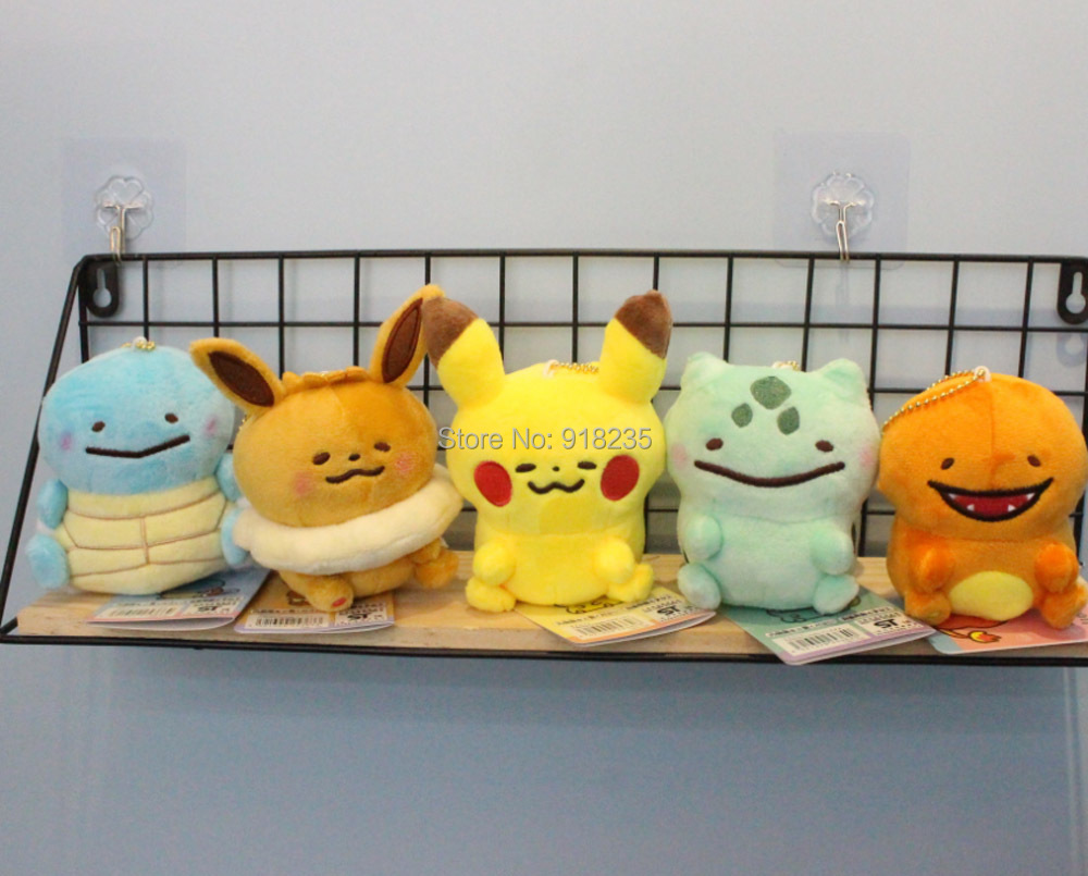 5 Styles Pikchu YT Eevee Charmander Bulbasaur Squirtle 10CM Soft Pendants Keychain Toy For Kids SYTJ