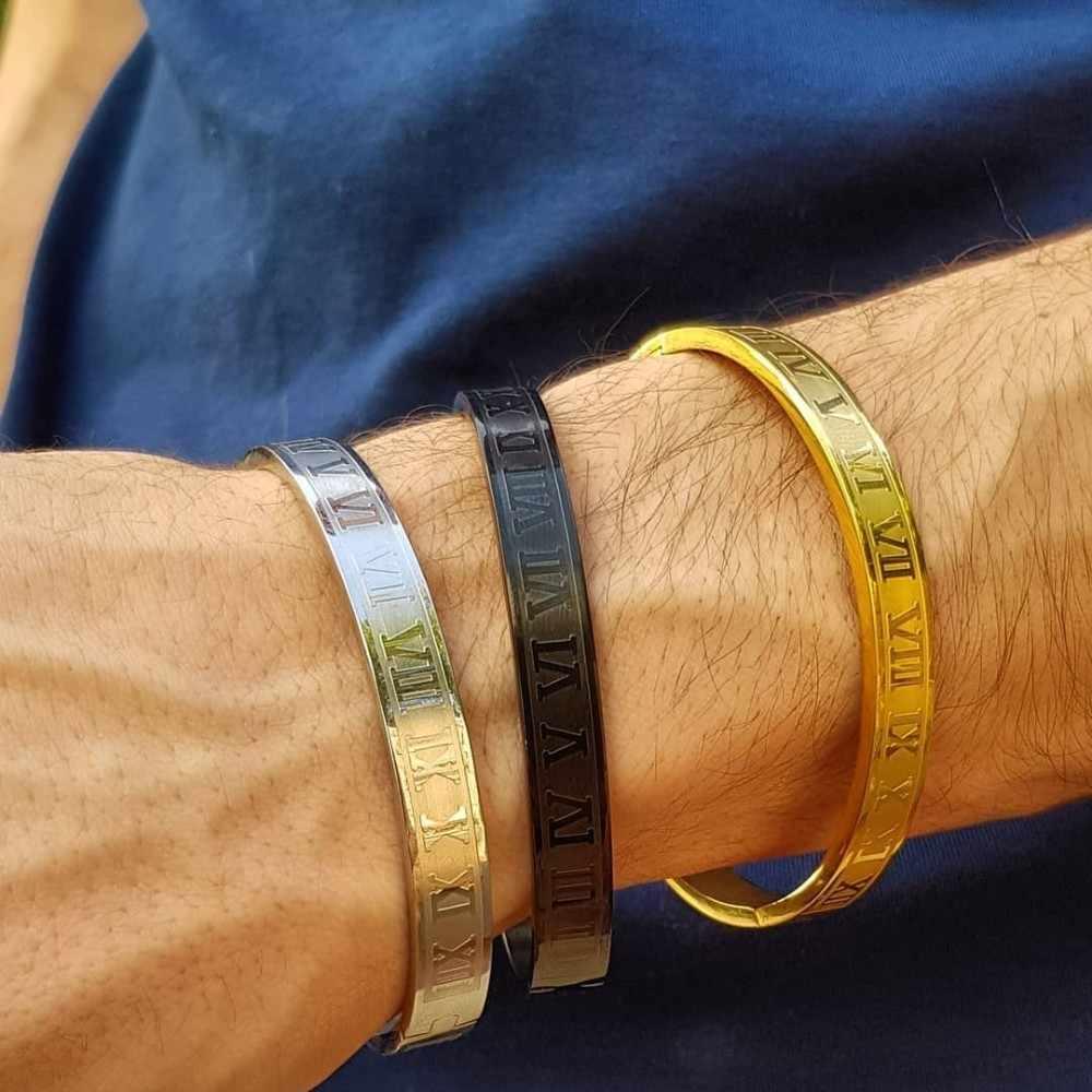 Luksusowa bransoletka mankietów bransoletka bransoletka ze stali nierdzewnej rzeźba cyframi rzymskimi para Roman bransoletka dla kobiet mężczyzn biżuteria