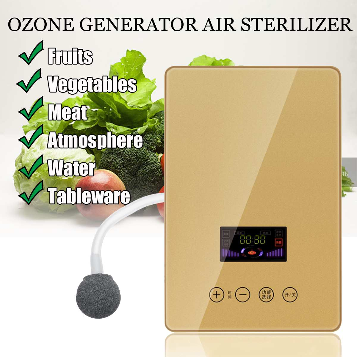 Portable Ozone Generator Air Water Sterilizer Home Fruit Vegetable Purification