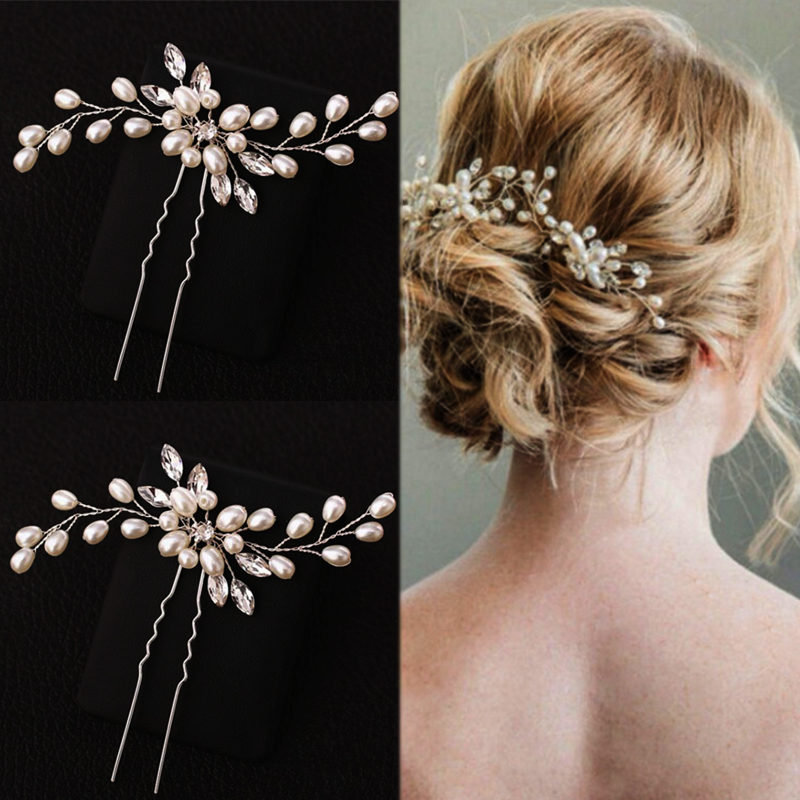 Handmade Silver Bridesmaid Bridal Veil 1PC Hair Pins Unique Girls Pearl Flower Hair Accessories Crystal Elegant Bridal Wedding