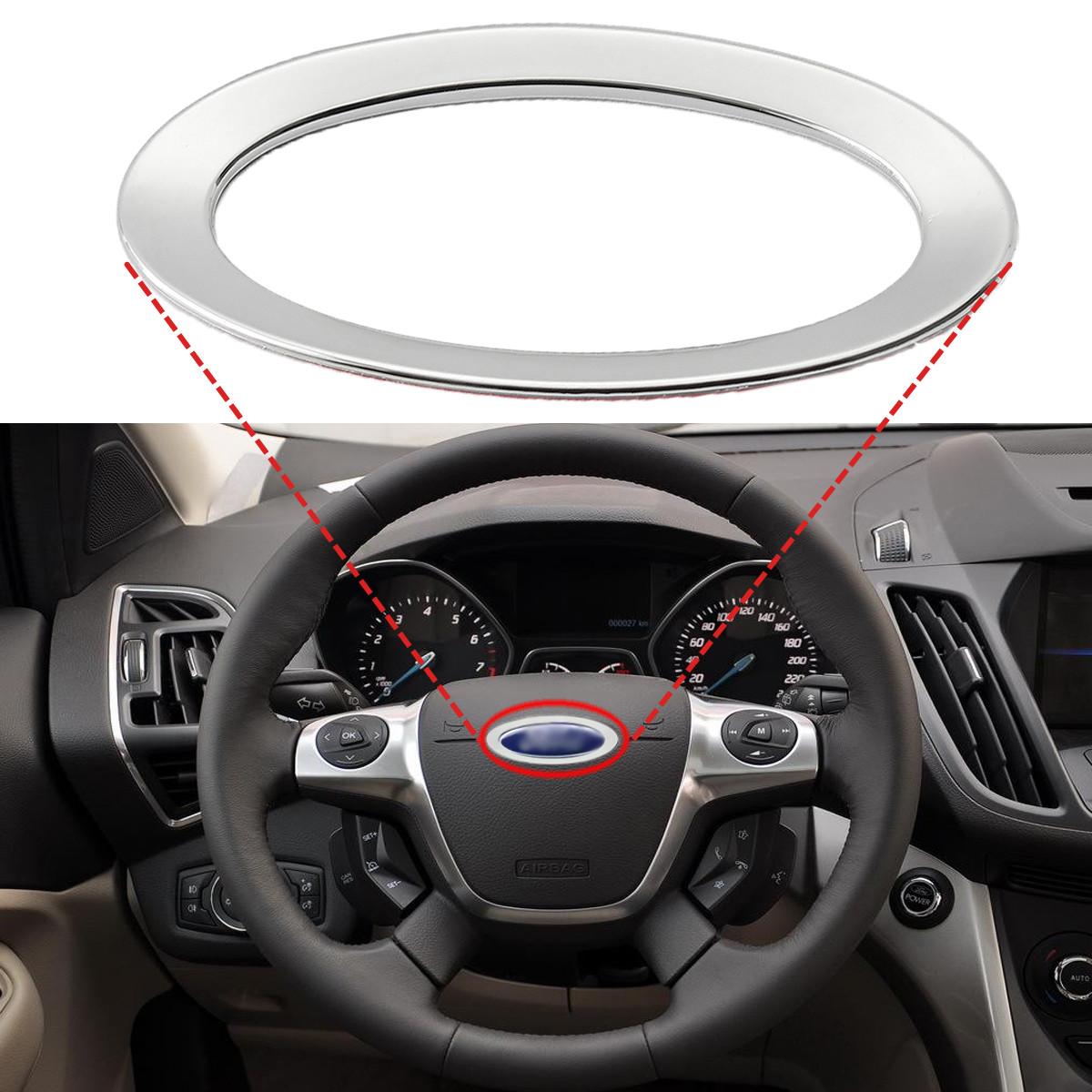 Steering Wheel Decoration Ring Cover Trim For Ford /Focus 2 3 /Fiesta /Mondeo /Kuga