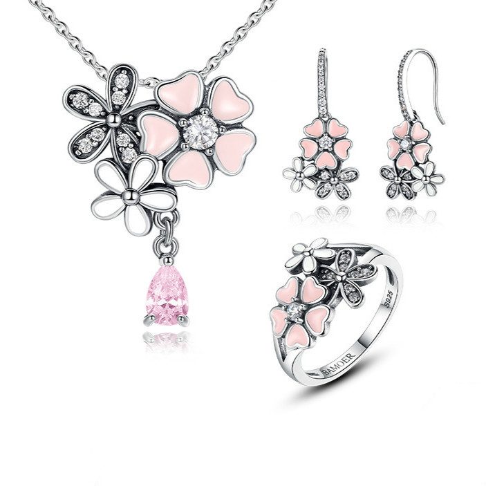 100% 925 Sterling Silver Pink Flower Poetic Daisy Cherry Blossom Bridal Jewelry Sets Wedding Engagement Jewelry Zhs028 BAMOER
