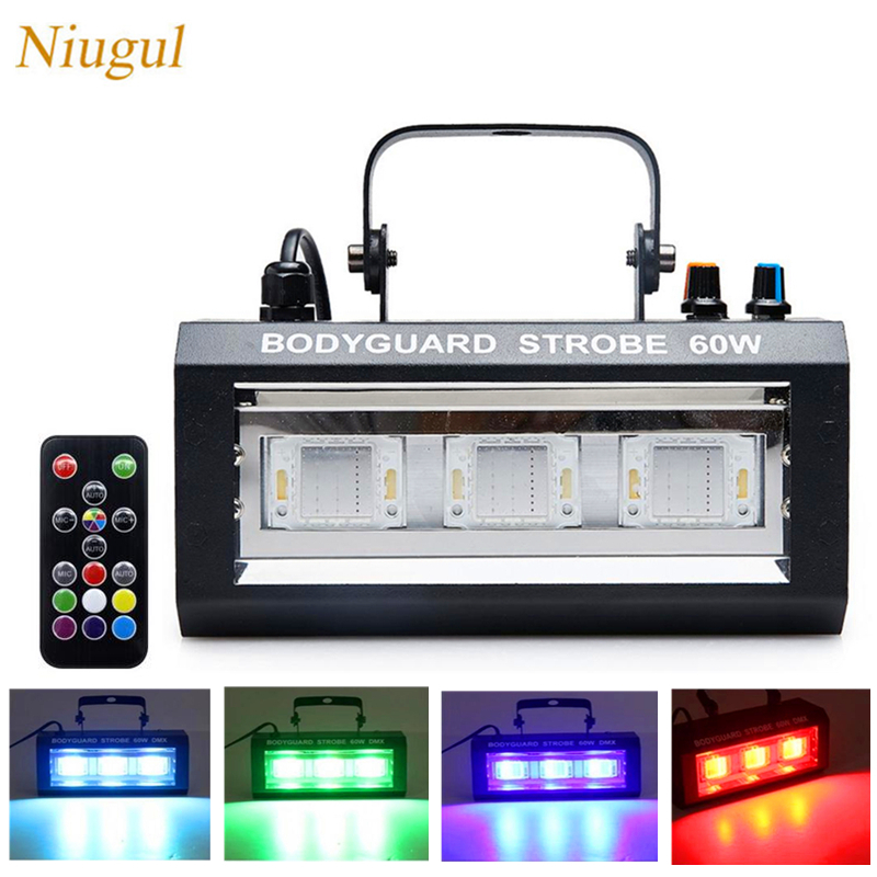 60W RGW LED Mixed Flashing Stage Lights Remote Sound Activated Disco Lighting For Festival Party Lights Wedding KTV Strobe Light60W RGW LED Mixed Flashing Stage Lights Remote Sound Activated Disco Lighting For Festival Party Lights Wedding KTV Strobe Light
