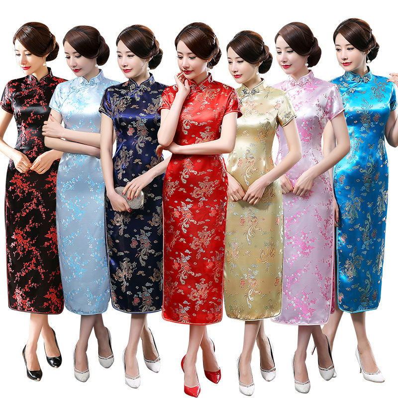 Ceremony Dresses Cheongsam Long Consultation Customer Service Hotel Door Welcome Work Orient Clothe Ceremonial Robe Longue Femme