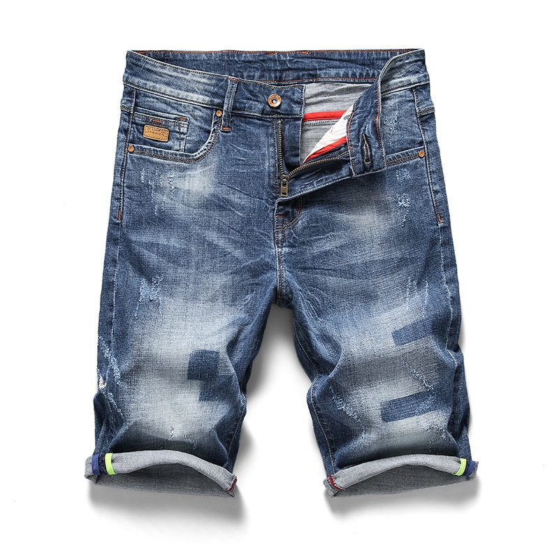 2019 Cowboy Micro Stretch Jeans Shorts Men Summer Retro Breeches Straight Denim Bermuda Short Male Blue Jean Size 34 36 38 40