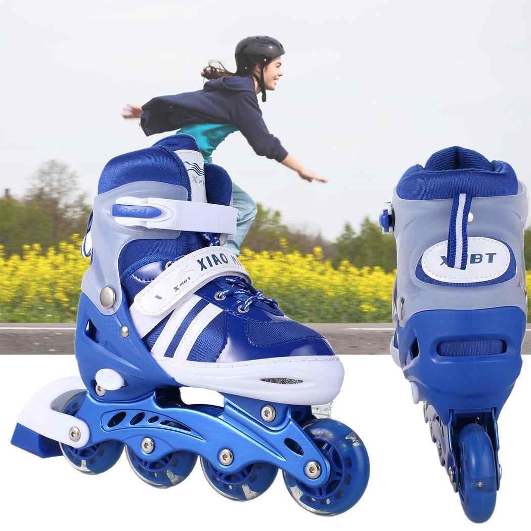 Children Roller Skates Skate 1 Scooters Adjustable Flashing Pair Inline Tracer Roller Wheel 4 Skates Inline Outdoor Patines PU zUqMVSpG