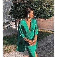 Green Elegant Sexy Dress Summer 2019 Women Deep V Neck Bodycon Party Dresses Ladies Flare Sleeve Split Tunic Midi Dress Women