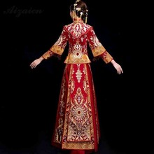 Bride 2019 New Phoenix Embroidery Cheongsam Red Tassel Qi Pao Women Chinese Traditional Wedding Dress Long Sleeve Qipao Gown