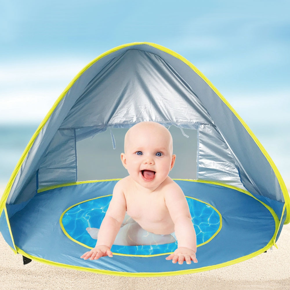 Baby Beach Tent Waterproof Pop Up Awning Tent Uv-protecting Sunshelter with Pool Kids Outdoor Camping Sunshade Beach Tent Toys baby beach tent portable outdoor beach pool playing house uv protecting sunshelter with pool waterproof pop up awning tent